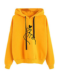cheap -Women's Basic Hoodie - Heart Yellow L