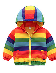 cheap -Kids Boys' Active Basic Color Block Rainbow Regular Trench Coat Rainbow