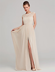 cheap -A-Line Jewel Neck Long Length Chiffon / Lace Bridesmaid Dress with