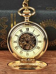 Недорогие -Муж. Карманные часы Механические, с ручным заводом Золотистый Повседневные часы Крупный циферблат Аналоговый На каждый день Скелет - Золотой