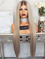 cheap -Synthetic Wig Straight Middle Part Wig Blonde Very Long Flaxen Synthetic Hair 26 inch Women's Party Women Blonde