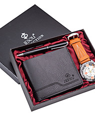 cheap -Men's Dress Watch Quartz Gift Set Leather Black / Brown / Khaki 30 m Chronograph Cute Creative Analog Classic Casual - Silver+Gray Khaki Silvery / White Two Years Battery Life / Luminous