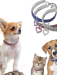 cheap -Dogs Collar Necklace Adjustable Size Decoration Heart Alloy White Blue Pink