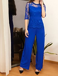 cheap -Women's Black Blue Red Wide Leg Slim Jumpsuit Onesie, Solid Colored Lace / Fashion S M L Spring Summer Fall / Winter