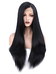 cheap -Synthetic Lace Front Wig Straight Side Part Free Part Glueless Lace Front 13x6 Closure Wig Long Very Long Natural Black Synthetic Hair 24-28 inch Women's Classic Women African American Wig Black