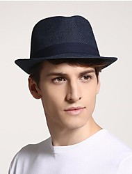 cheap -Men's Active 1930s Linen Straw Straw Hat-Solid Colored Summer Black Beige