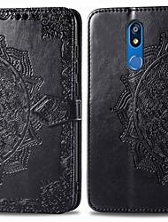 Недорогие -Кейс для Назначение LG LG K40 Бумажник для карт / Флип Чехол Однотонный Твердый Кожа PU