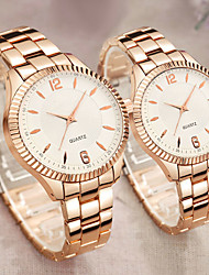cheap -Couple's Steel Band Watches Quartz Stainless Steel Rose Gold 30 m Water Resistant / Waterproof Creative New Design Analog Casual Fashion - White Black One Year Battery Life