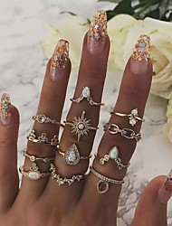 cheap -Women's Ring Ring Set everly rings 12pcs Gold Rhinestone Alloy European Trendy Fashion Daily Carnival Jewelry Classic Sun Pear Cool