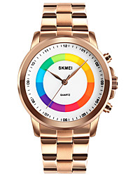 cheap -SKMEI Men's Dress Watch Quartz Stainless Steel Black / Silver / Gold 30 m Water Resistant / Waterproof Creative LED Light Analog Luxury Fashion - Black Silver Rose Gold One Year Battery Life