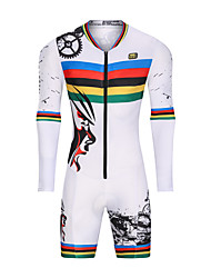 cheap -Malciklo Men's Women's Long Sleeve Triathlon Tri Suit Winter Fleece White Floral Botanical Bike UV Resistant Breathable Moisture Wicking Quick Dry Reflective Strips Sports Geometric Triathlon