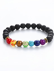 cheap -Men's Women's Black Agate Bead Bracelet Vintage Bracelet Hologram Bracelet Yoga Buddha Stylish Classic Bohemian Punk Gypsy Stone Bracelet Jewelry Black For Christmas Graduation Gift Carnival Festival