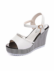 cheap -Women's Sandals Wedge Heel PU Casual Summer Black / White / Striped