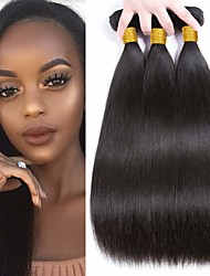 cheap -6 Bundles Indian Hair Straight Unprocessed Human Hair Natural Color Hair Weaves / Hair Bulk Bundle Hair One Pack Solution 8-28 inch Natural Color Human Hair Weaves Life Soft Easy dressing Human Hair