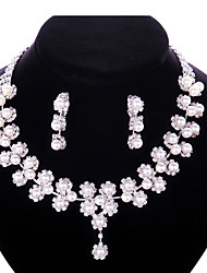 cheap -Women's Drop Earrings Pendant Necklace Bridal Jewelry Sets Classic Flower Stylish Classic Imitation Pearl Rhinestone Silver Plated Earrings Jewelry White For Wedding Party 1 set / Y Necklace