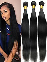 Недорогие -4 Связки Бразильские волосы Прямой человеческие волосы Remy 200 g Человека ткет Волосы Пучок волос One Pack Solution 8-28 дюймовый Естественный цвет Ткет человеческих волос