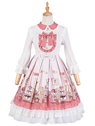 cheap -Artistic / Retro Princess Lolita Cute Dress Blouse / Shirt Cosplay Costume Halloween Props All Velvet Chiffon Japanese Cosplay Costumes Light Pink Print Animal Bowknot Sleeveless Sleeveless Long
