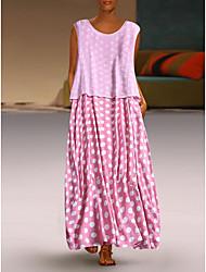 cheap -Women's Elegant Maxi Loose Shift Dress - Polka Dot Black White Blushing Pink S M L XL