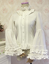 cheap -Gothic Style Sweet Lolita Blouse / Shirt Cosplay Costume Female Chiffon Lace Japanese Cosplay Costumes White / Black Solid Colored Lace Flare Sleeve Long Sleeve