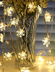 cheap -1.5m Snowflake String Lights 10 LEDs Warm White RGB White Christmas New Year Home Decorative AA Batteries Powered 1set