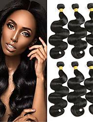 cheap -6 Bundles Indian Hair Body Wave Remy Human Hair 100% Remy Hair Weave Bundles Natural Color Hair Weaves / Hair Bulk Extension Bundle Hair 8-28 inch Natural Color Human Hair Weaves Odor Free Extender