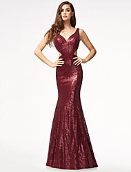 cheap -Mermaid / Trumpet Sexy Open Back Formal Evening Dress V Wire Sleeveless Sweep / Brush Train Sequined with Sequin 2020