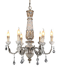 cheap -Ecolight 6-Light 66 cm Creative / Adjustable / Candle Style Chandelier Metal Wood / Bamboo Candle-style / Sputnik / Globe Painted Finishes / Wood Rustic / Lodge / Retro Vintage 110-120V / 220-240V