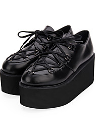 cheap -Women's Lolita Shoes Punk Wedge Heel Shoes Color Block 8 cm Black Red Ink Blue PU Leather Halloween Costumes