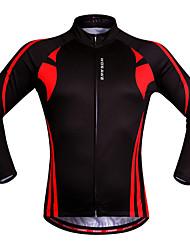 abordables -WOSAWE Homme Femme Manches Longues Maillot Velo Cyclisme Rouge / noir Mosaïque Grandes Tailles Cyclisme Shirt Maillot Hauts / Top VTT Vélo tout terrain Vélo Route Respirable Séchage rapide Design