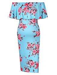 cheap -Women's Maternity Elegant Above Knee Shift Dress - Floral Geometric Ruffle Print Blushing Pink Navy Blue Wine M L XL