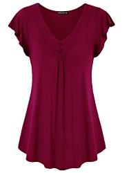 cheap -Women's Casual Basic / Elegant Plus Size Cotton Loose T-shirt - Solid Colored V Neck Fuchsia