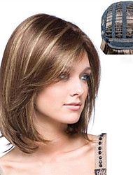 cheap -Synthetic Wig Weave Ombre Natural Wave Natural Straight Bob Wig Ombre Medium Length Medium Brown / Bleached Blonde Synthetic Hair 14 inch Women's Fashionable Design Synthetic Hot Sale Brown Ombre