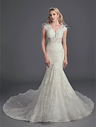 cheap -Mermaid / Trumpet V Neck Cathedral Train Lace Sleeveless Glamorous See-Through / Illusion Detail / Backless Wedding Dresses with Feathers / Fur / Lace / Beading 2020