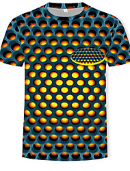 cheap -Men's T shirt Graphic Geometric Print Tops Yellow