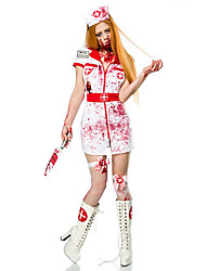 cheap -Zombie Dress Cosplay Costume Adults' Female Dresses Halloween Halloween Carnival Masquerade Festival / Holiday Terylene White Female Carnival Costumes Printing