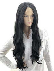 cheap -Body Wave Loose Curl Asymmetrical Lace Front Wig Very Long Black#1B Synthetic Hair 24 inch Women's Party Synthetic Sexy Lady Black