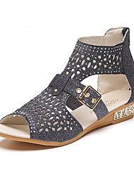 cheap -Women's Sandals Wedge Heel Rhinestone / Crystal Faux Leather Spring & Summer Black / White / Gold