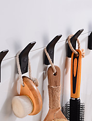 cheap -Robe Hooks Creative Aluminum 5pcs for Bathroom Matte Black Hooks Wall Mounted