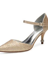 cheap -Women's Wedding Shoes High Heel Pointed Toe Wedding Pumps Wedding Party & Evening Gleit Rhinestone Sequin Black Champagne Ivory