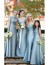 cheap -A-Line Sweetheart Neckline / Plunging Neck Floor Length Satin Bridesmaid Dress with Sash / Ribbon