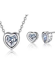 cheap -Women's Cubic Zirconia Bridal Jewelry Sets Retro Heart Cute Elegant Earrings Jewelry Silver For Wedding Gift 1 set