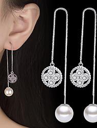 cheap -Women's Cubic Zirconia Drop Earrings Long Simple Fashion Imitation Pearl Silver Earrings Jewelry Silver For Daily Festival 1 Pair