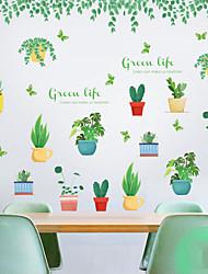 Недорогие -свежие зеленые листовые растения в горшках настенные наклейки - слова&усиленные цитаты стикеры на стенах персонажей кабинет / кабинет / столовая / кухня