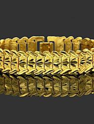 cheap -Men's Chain Bracelet Wide Bangle Classic Leaf Precious Stylish Brass Bracelet Jewelry Gold For Daily Work / Gold Plated