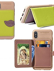 Недорогие -чехол для iphone xr / iphone xs max магнитный / с подставкой / противоударная задняя крышка из дерева / декорации из искусственной кожи
