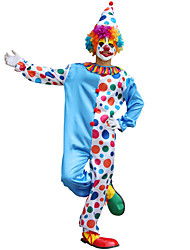 cheap -Burlesque Clown Cosplay Costume Masquerade Adults' Men's Cosplay Halloween Christmas Halloween Carnival Festival / Holiday Terylene Blue Carnival Costumes Color Block Printing