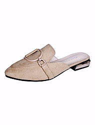 cheap -Women's Clogs & Mules Low Heel PU Casual Summer Black / Khaki