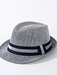 cheap -Unisex Active Basic Cute Straw Straw Hat Sun Hat-Color Block All Seasons Beige Navy Blue Khaki