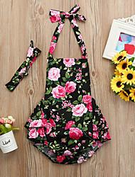 cheap -2pcs Baby Girls' Active / Basic Floral / Geometric / Print Lace up / Print Sleeveless Bodysuit Black