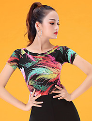 cheap -Ballroom Dance Top Pattern / Print Ruching Women's Performance Short Sleeve Ice Silk